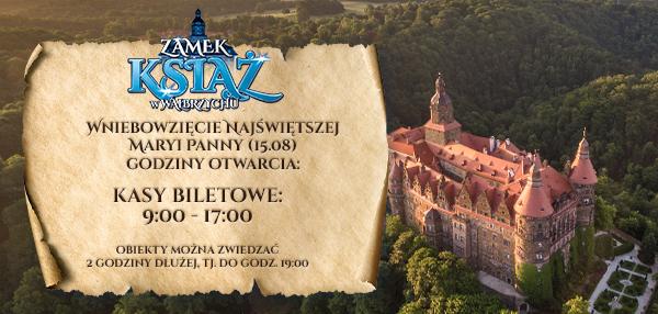 W dniu 15.08.2020 Zamek Książ jest otwarty dla zwiedząjacych.